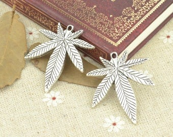 Leaf charms, 7 pcs charms, Tibetan silver charms, Alloy charms, Metal pendants, Jewelry findings, Jewelry making, Cheap, 39 mm x 33 mm, A62