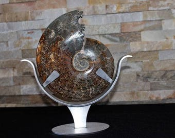 Ammonite entirely in calcite - superb condition with custom-made stand - 23,5 x 20 x 5 cm - 1,842KG - 110 million years - Madagascar