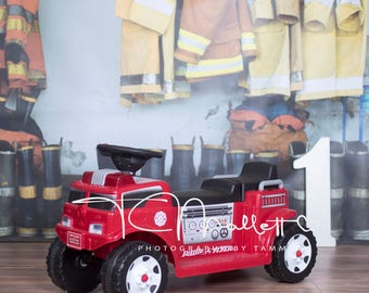 Firefighter 1st birthday High Resolution Digital Backdrop with Fire Engine #2