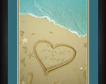 Personalized Heart in the Sand Print - Beach Background - Personalized Print - Family Print - Framed Print - Home Wall Decor - Name Print