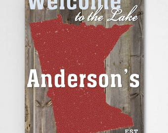 Personalized Lake House State Canvas Sign - Lake Home Canvas Print - Personalized Cabin Print - Canvas Print - Family State Wall Decor