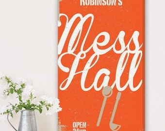 Personalized Family Mess Hall Canvas Print - Orange Background - Personalized Print - Family Print - Home Wall Decor - Wall Art