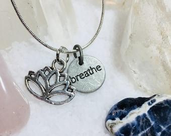 Lotus yoga breathe necklace