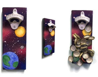 Cap Catch Magnetic Bottle Opener - Fridge Mount - Space Galaxy Theme - hand painted - Universe