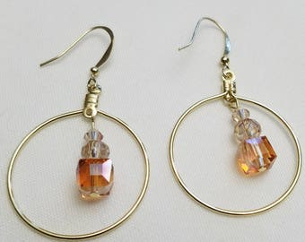 Czech glass dangle circle earrings