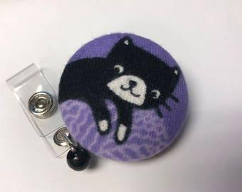 Black Cat Nurse Retractable Reel Badge Holder