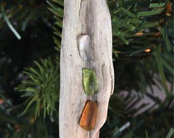 Lake Erie Beach Glass and Driftwood Ornament