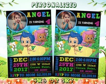 Bubble Guppies Invitation, Bubble Guppie Birthday Party, Cartoon, Personalized, Printable, Ballpoint Pen Drawing On Grid Paper