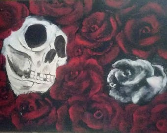 Skull and flowers painting