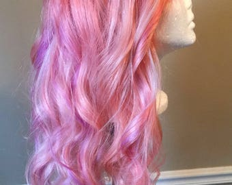 """24"""" Cutom Colored Pink Human Hair Lace Front Wig"""