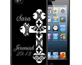 Personalized Rubber Case For iPhone X, 8, 8 plus, 7, 7 plus, 6s, 6s plus, 5, 5s, 5c, SE - Religious Cross Black