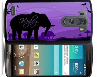 Personalized Rubber Case For LG  3, 4, 5, 6 - Purple Elephant
