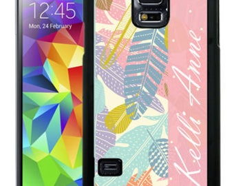 Personalize Rubber Case For Samsung Note 3, Note 4, Note 5, or Note 8- Light Color Feathers