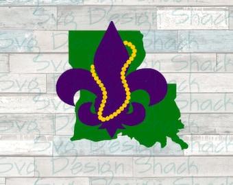 Louisiana Mardi Gras SVG, DXF, EPS, Studio 3, Png