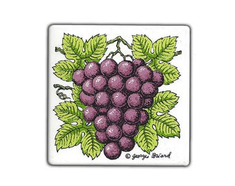 Georges Briard Grape Enameled Tile 1960s