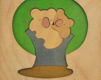 NAEF Sabu Oguro Framed Koala Bear Wooden Puzzle Sculpture Art Framed Jigsaw Jig Vintage Swiss Design