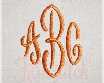 End Scroll Monogram Embroidery Fonts 3 Sizes Three Letters Monogram Fonts BX Fonts Embroidery Designs PES Alphabets - Instant Download