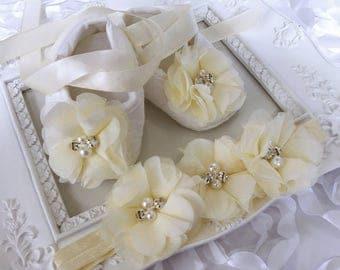Baby Girl Ivory Christening Baptism Shoes Chiffon Flowers Rhinestones Pearls Headband Set