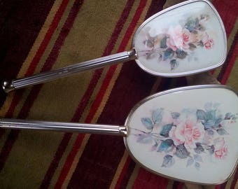Vintage Female Set -  Ladies Accessories - Antique Mirror and Cleaning Brush - Old Mirror -  Wooden Brush Clothes - Gift idea for you