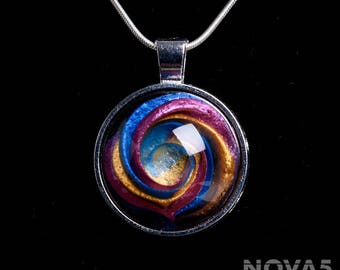Contemporary Jewelry/  Modern Jewelry/ Artisan Jewelry/ Handmade Pendant/ Modern Necklace *Blue Pink and Magenta Spiral Pendant*