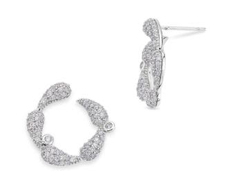 Antennas front hoop earrings - silver