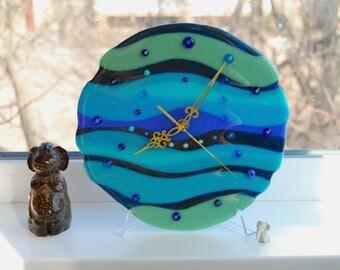 Fused glass wall clock, Blue lagoon, Vintage, Glass wall clock, Fusing glass wall clock, Living, Bedroom, Kids room, Wall decor.