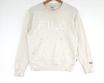 Fila Sweatshirt cream colour Big Logo Embroidery Sweat Medium Size Jumper Pullover Jacket Sweater Shirt Vintage 90's