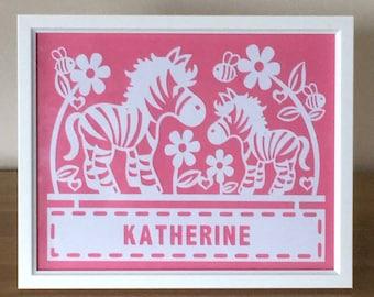 Framed, personalised zebra paper cut