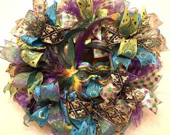 Large Mardi Gras Wreath