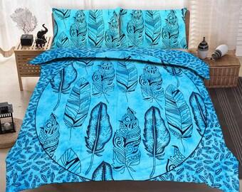 Boho Queen Size Mandala Bedding Duvet Doona Set - Blue Feathers