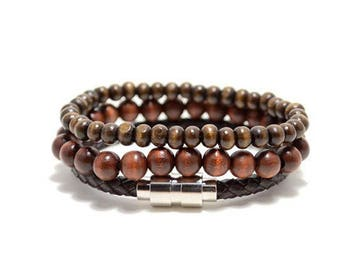 3 Pack 8mm/6mm/Leather Dark Brown Bracelet Set