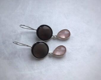 Smoky and Rose Quarz earrings