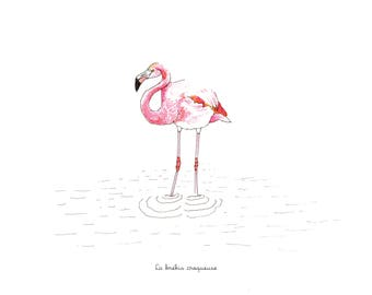 Illustration // The pink flamingo // Size 5.8  x 5.3  inches or 8,3 x 11,7 inches
