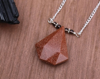 Goldstone and Smoky Quarts Necklace