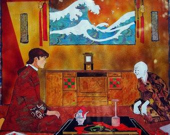 Acquarello figurativo, acquerello su carta di alta qualità, dipinto realistico, Hokusai, Giappone, Italia