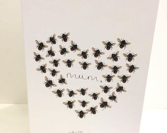 Manchester Bee inspired heart Mothers Day, Birthday or wedding greeting card