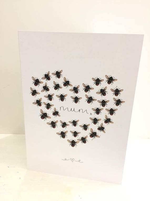 Manchester Bee inspired heart Mothers Day greeting card