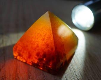 Pyramid shape Natural blue amber #02