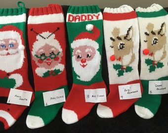 WITH NAME Personalized Hand Knit Christmas Stocking