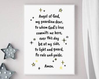 Guardian Angel Prayer - A4 poster