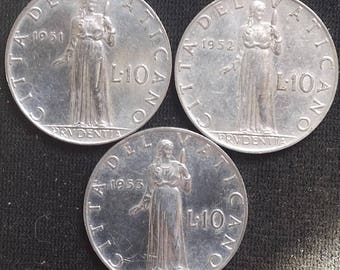 Lotto 3 coins 10 lire Vatican City