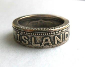 Iceland 2 Kronur Coin Ring - Iceland coin - Iceland Coin Ring - Island - Souvenir From Iceland - Island Jewelry
