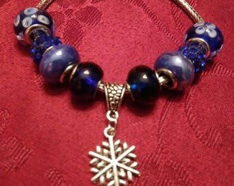 Snowflake, Blue, Glass, Murano Bead, Charm Bracelet