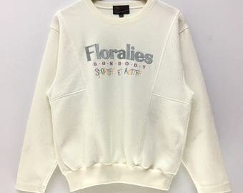 Rare!!! Vintage Floralies Sweatshirt by Sunbody Sportiff Big Logo Spell Out Embroidery Jumper Pullover Casual Lifestyle Streetwear White