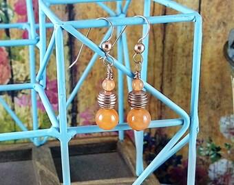 Handmade Watermelon Jade & Copper Earrings