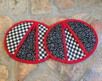 Handmade Black, Red and White Potholders, Hot pads