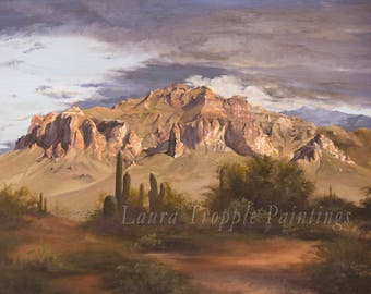 Arizona Superstition Mountains Oil painting on Stretched Canvas