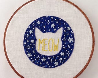 MEOW - starry night cat outline embroidery hoop wall art