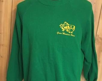 Vintage Great Meadows Farm 1980s Green Crewnec Sweatshirt - vintage sweatshirt - 80s sweatshirt - vintage pullover (XL)