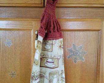 Kitchen Towels With Crocheted Topper